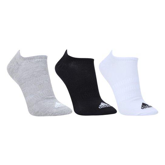 Meia Adidas Cano Curto Light Nosh c/ 3 Pares - Cinza+Branco