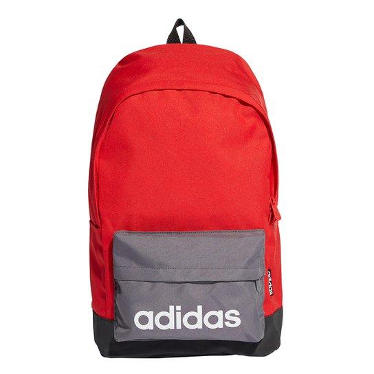 Mochila Adidas Clássica Grande - Vermelho+Cinza