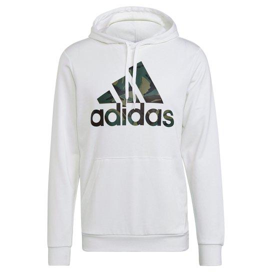 Moletom Adidas Capuz Camuflado Masculino - Branco