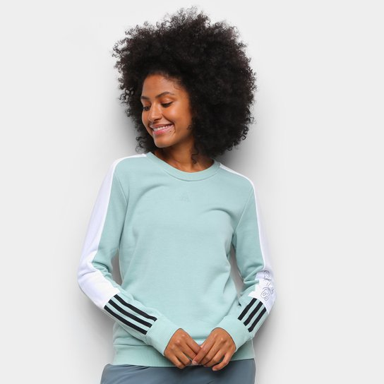 Moletom Adidas Color Block Feminino - Verde+Preto