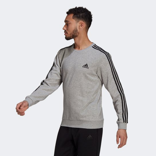Moletom Adidas Essentials 3 Listras Masculino - Cinza+Preto
