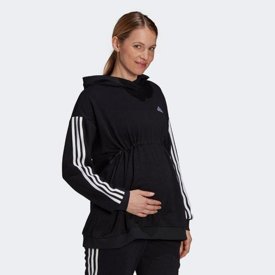 Moletom Adidas Essentials Cotton 3 Stripes Gestante - Preto+Branco