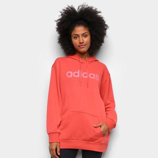 Moletom Adidas Essentials Linear Feminino - Vermelho+Rosa