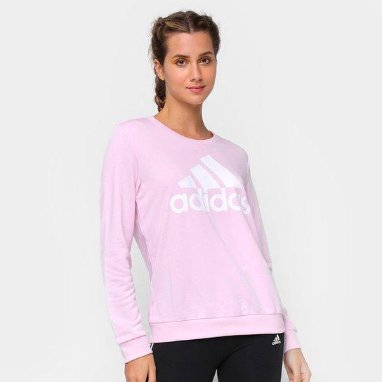 Moletom Adidas Essentials Logo Adidas Feminino - Rosa+Branco