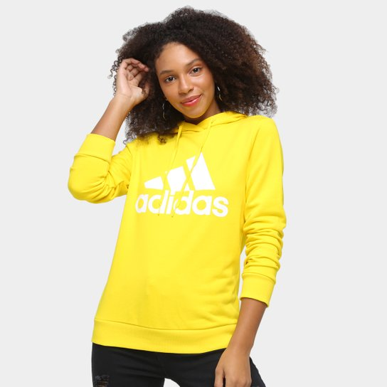 Moletom Adidas Essentials Logo Feminino - Amarelo+Branco