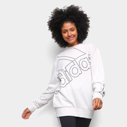 Moletom Adidas Favourites Big Logo - Prata+Preto