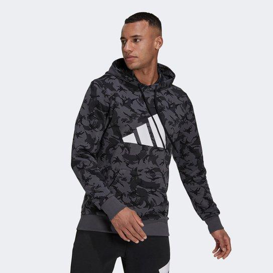 Moletom Adidas Sportswear Future Icon Camuflado Masculino - Preto+Cinza