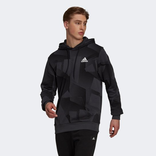 Moletom Adidas Sportswear Gráfico Masculino - Preto+Chumbo