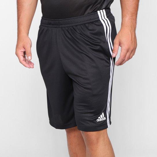 Short Adidas 3S Masculino - Preto+Branco
