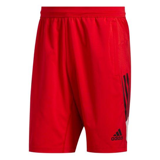 Short Adidas 4KRFT 3 Listras Masculino - Vermelho+Preto
