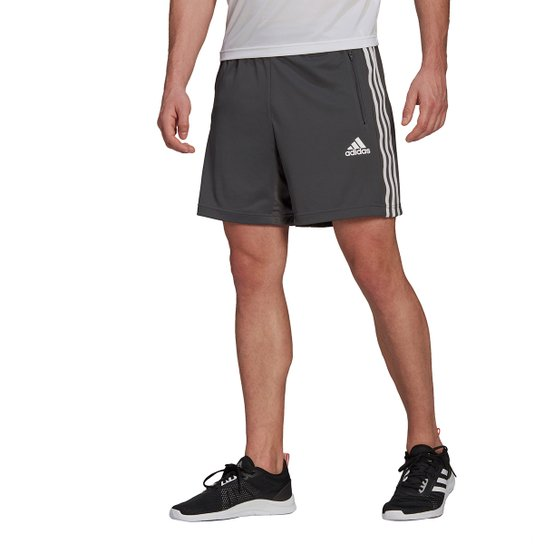 Short Adidas D2M 3 Listras Masculino - Cinza+Branco