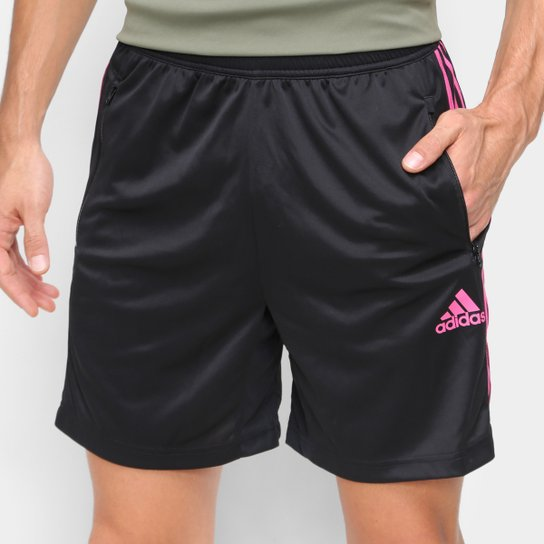 Short Adidas D2M 3 Listras Masculino - Preto+Rosa