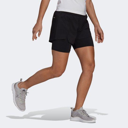 Short Adidas Designed To Move 2 Em 1 Feminino - Preto+Branco