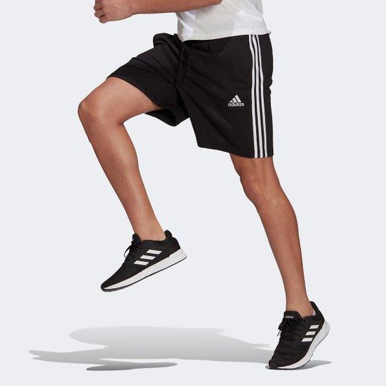 Short Adidas Essentials 3 Listras Masculino - Preto+Branco