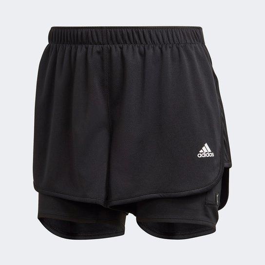 Short Adidas Marathon 20 2 em 1 Feminino - Preto