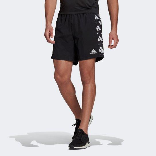 Short Adidas Own The Run Celebration Masculino - Preto+Branco