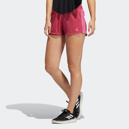 Short Adidas Pace 3 Stripes Knit Feminino - Rosa