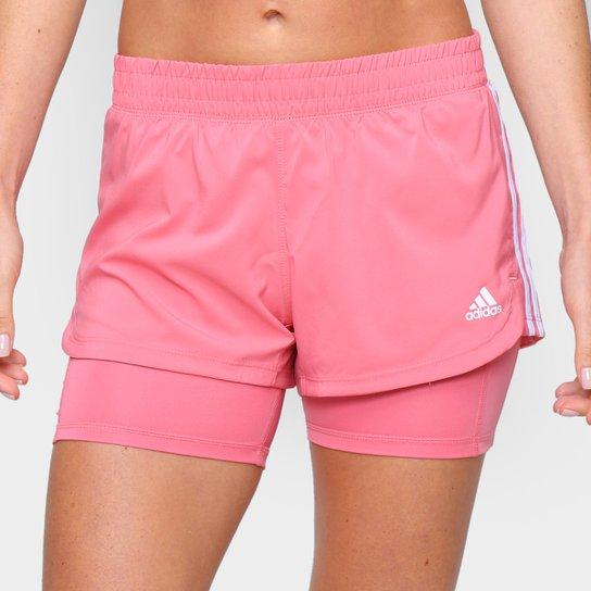 Short Adidas Pacer 2 em 1 Feminino - Rosa+Branco