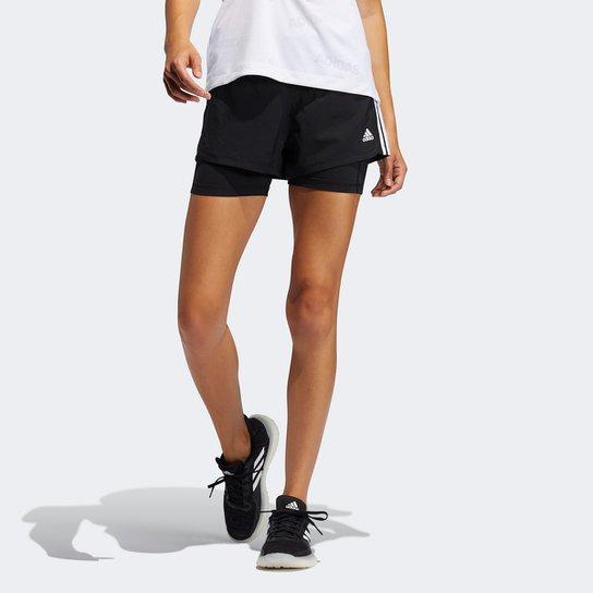 Short Adidas Pacer 3 Listras 2 Em 1 Feminino - Preto+Branco