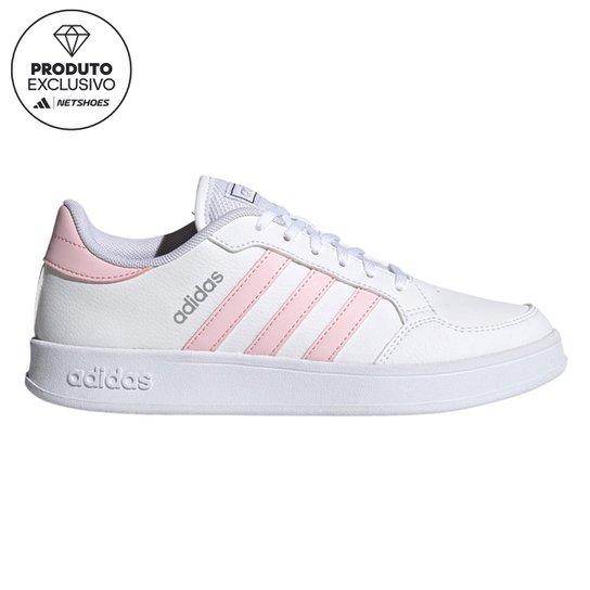 Tênis Adidas Breaknet Brilho Feminino - Branco+Rosa