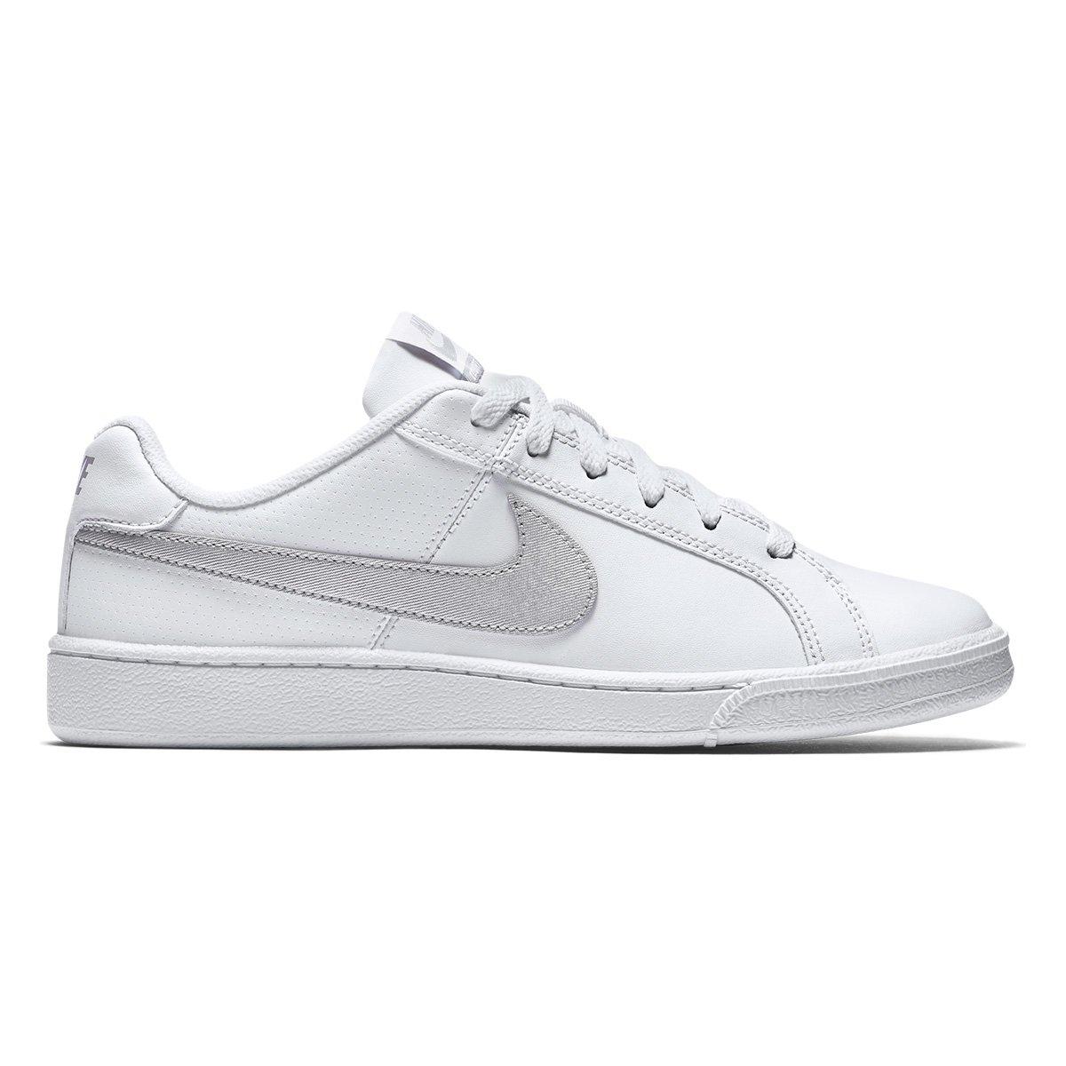 fe691a358e Tênis Couro Nike Court Royale Feminino - Branco e prata - Compre Agora