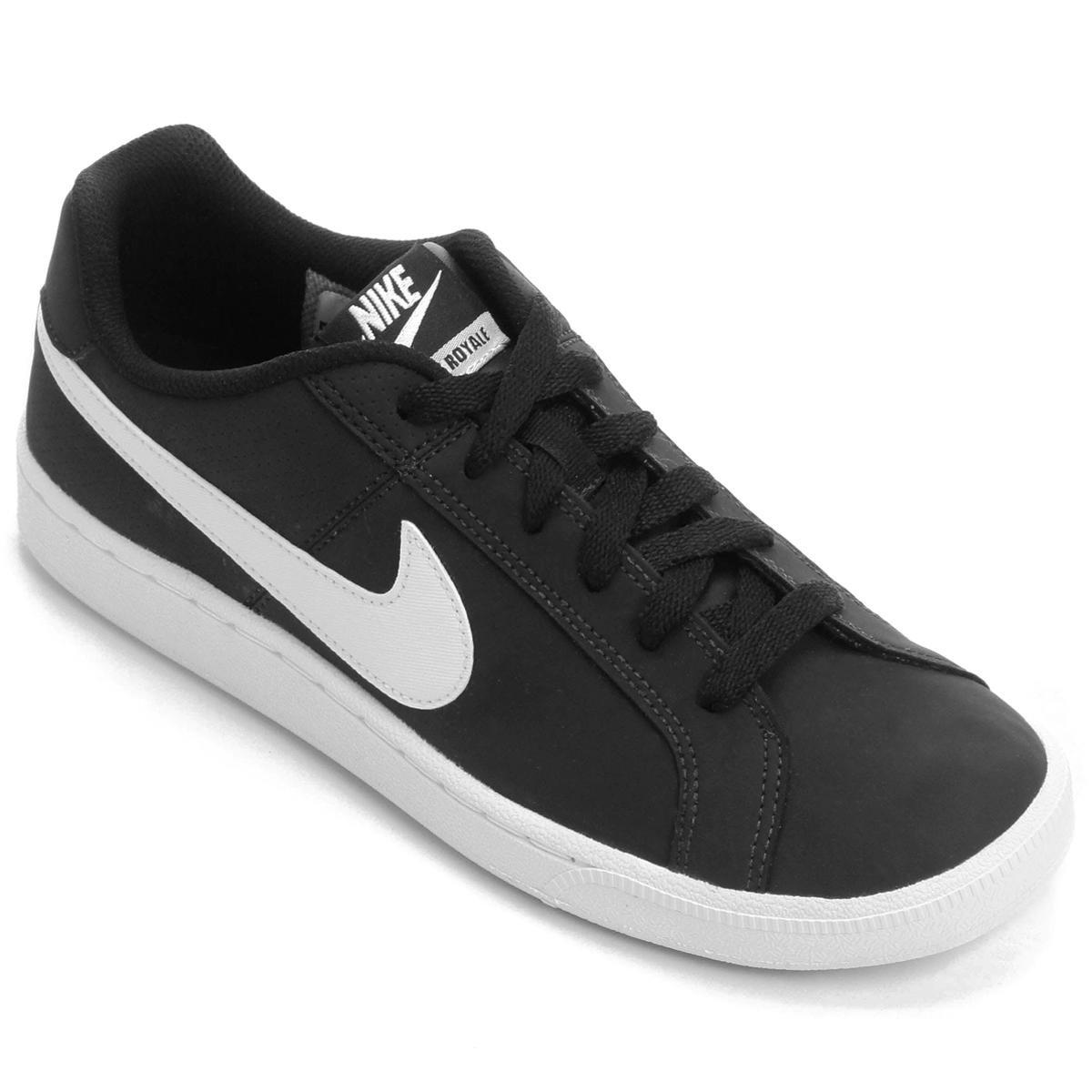 d2145fd8a Tênis Couro Nike Court Royale Feminino - Branco e Preto | Loja do Inter