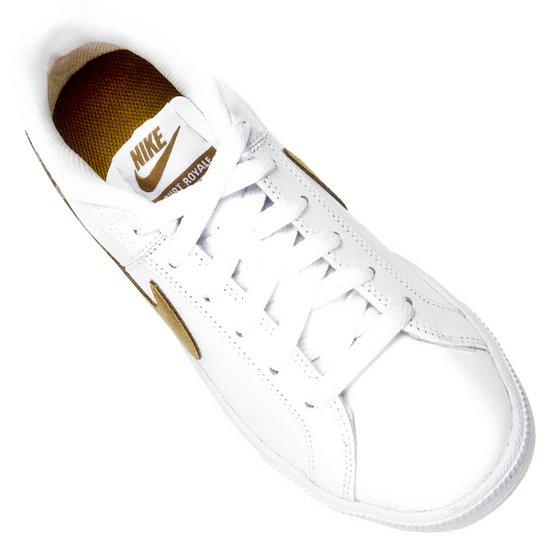 Tênis Couro Nike Court Royale Feminino Branco E Dourado