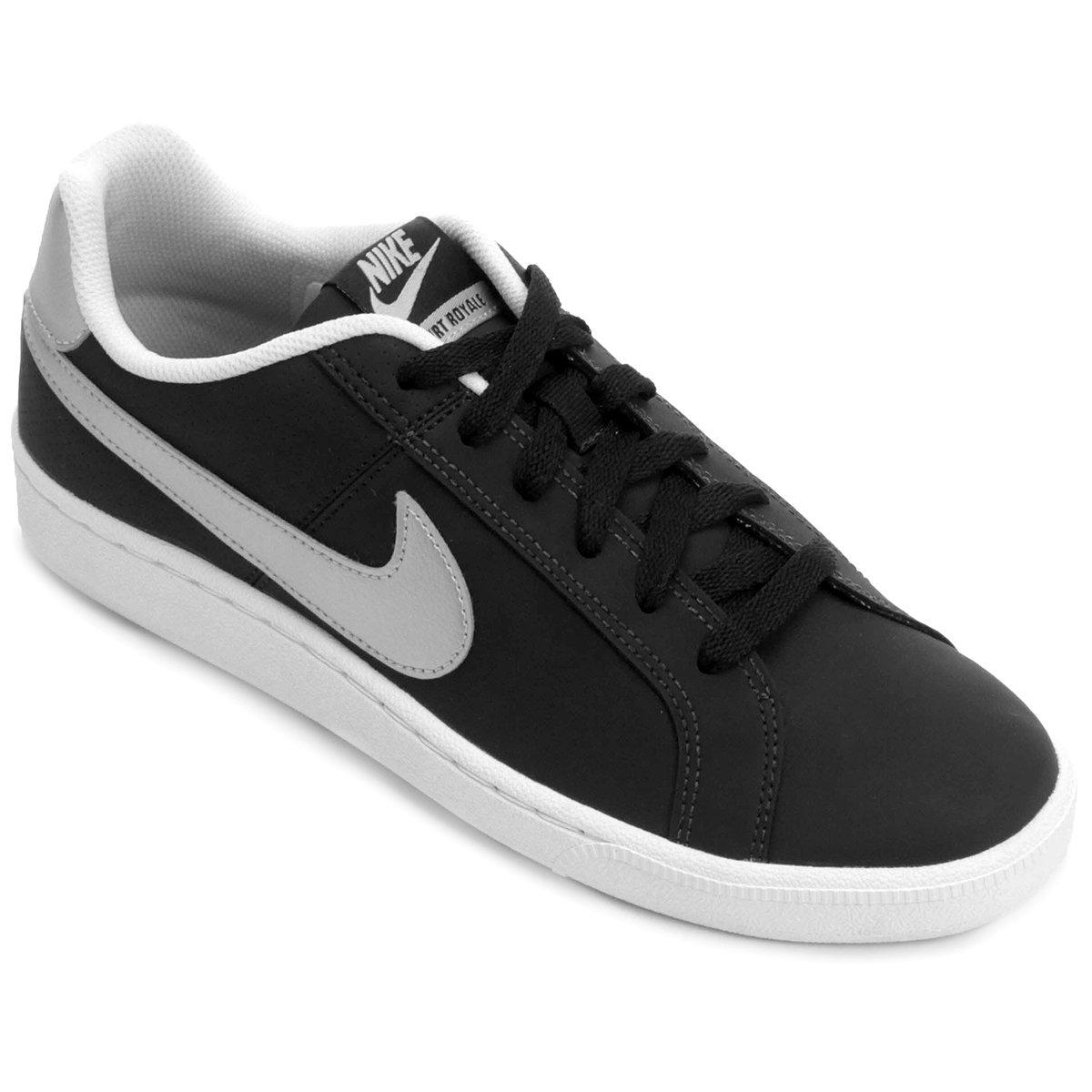 e3081c64c31 Tênis Couro Nike Court Royale Feminino - Preto e Prata - Compre Agora