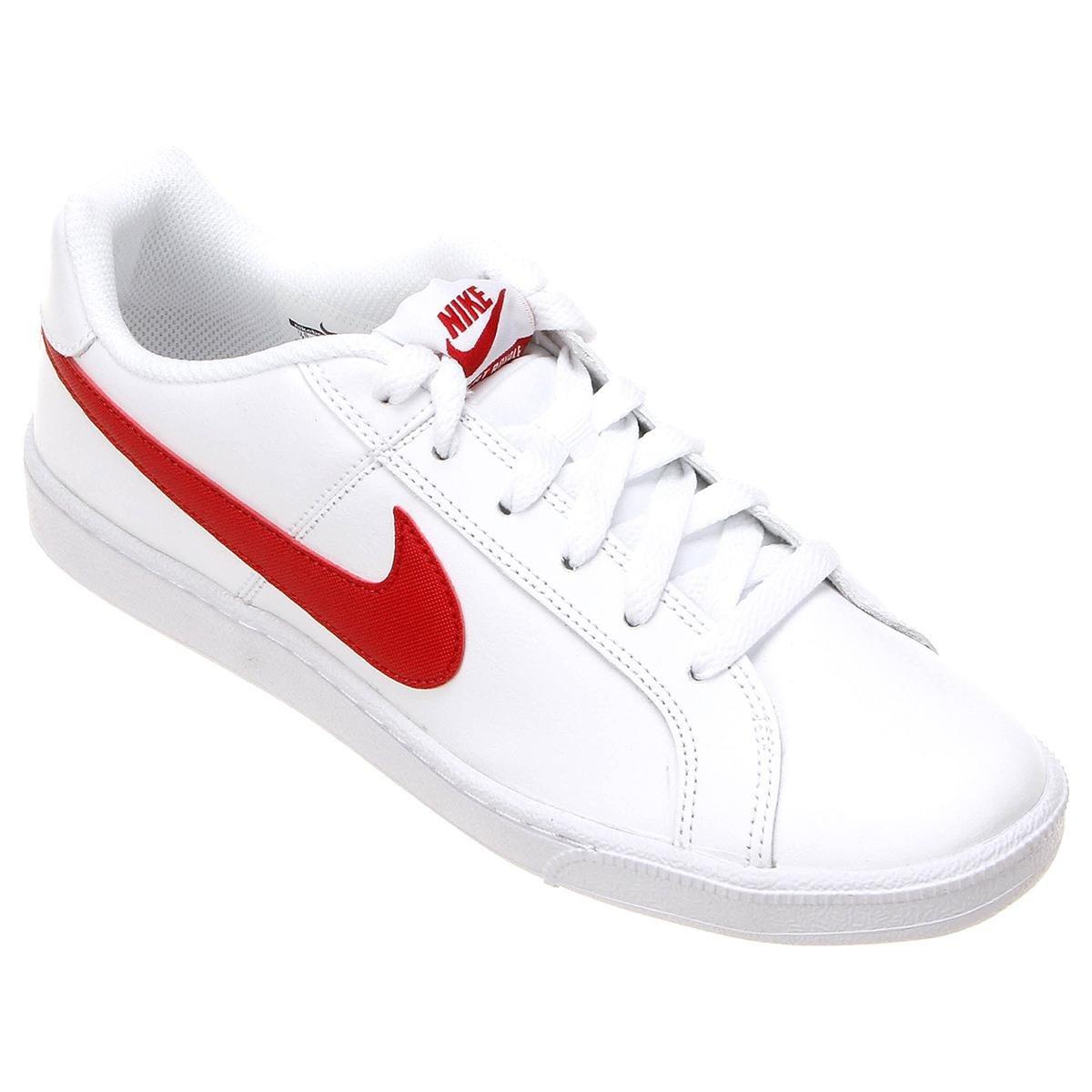 b2cf7d677a Tênis Couro Nike Court Royale Masculino - Branco e Vermelho - Compre ...