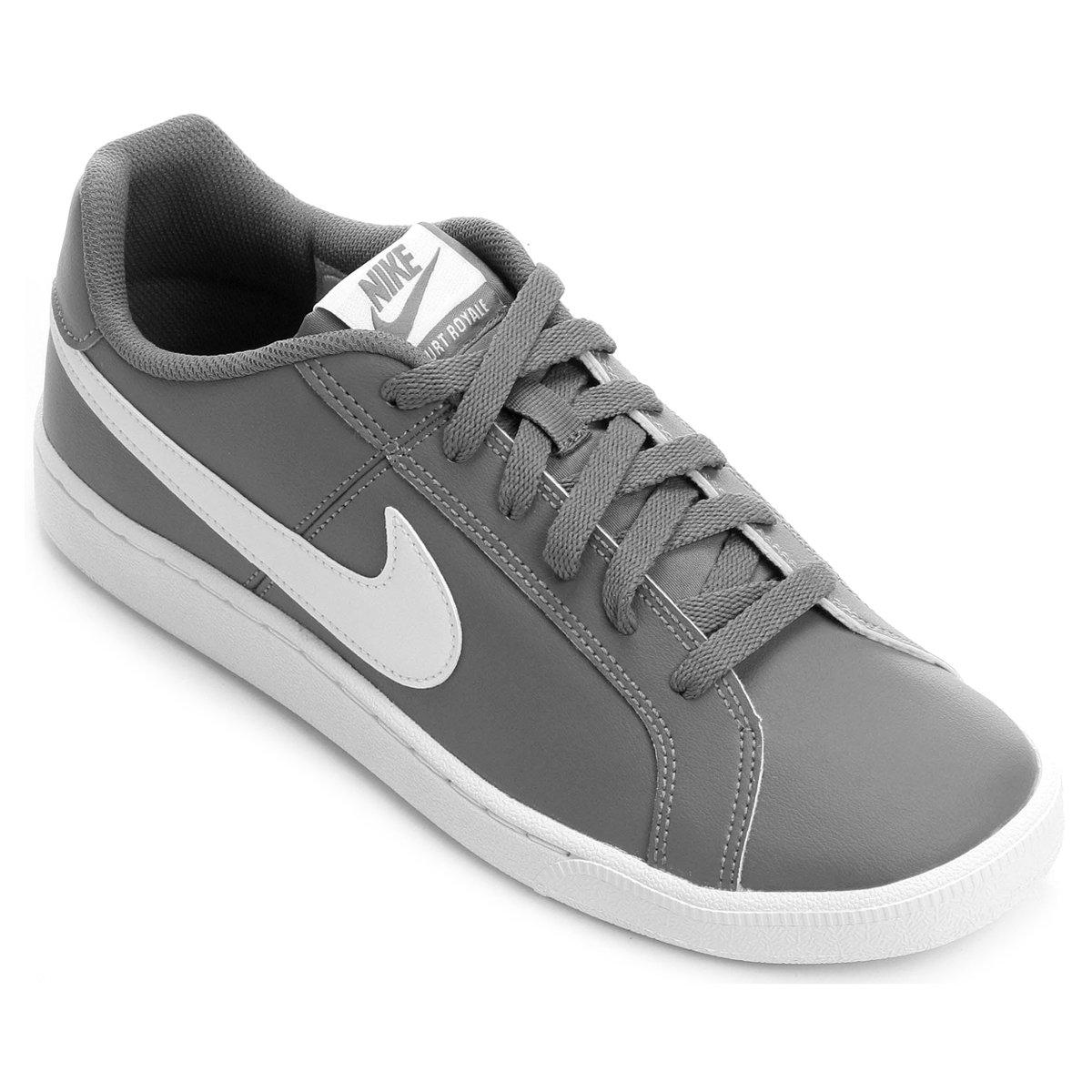 Tênis Couro Nike Court Royale Masculino - Cinza e Branco - Compre Agora  35180df98a702