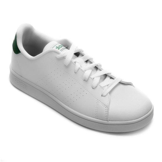 Tênis Infantil Adidas Advantage K Perfuros - Branco+Verde