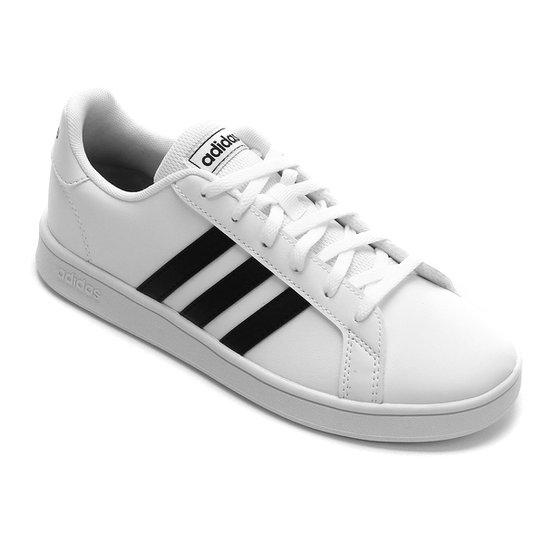 Tênis Infantil Adidas Grand Court  - Branco+Preto