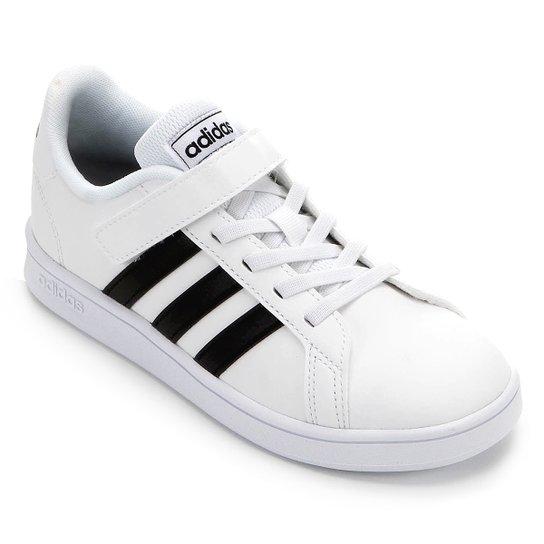 Tênis Infantil Adidas Grand Court C - Branco+Preto