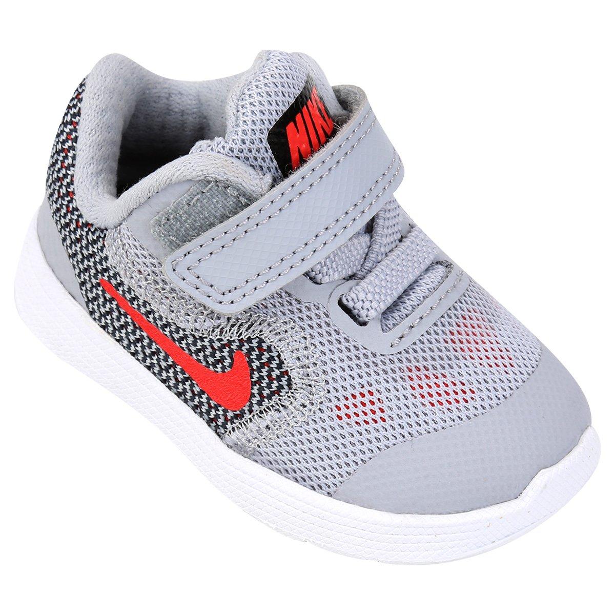 8600ad13ba Tênis Infantil Nike Revolution 3 - Cinza e Vermelho - Compre Agora ...