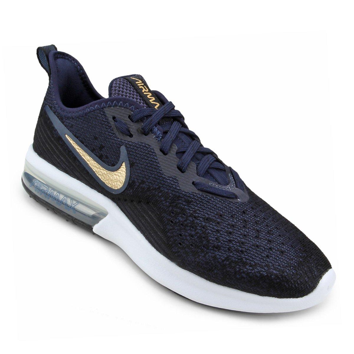 25bd3e15f9e Tênis Nike Air Max Sequent 4 Feminino - Preto e Azul - Compre Agora ...