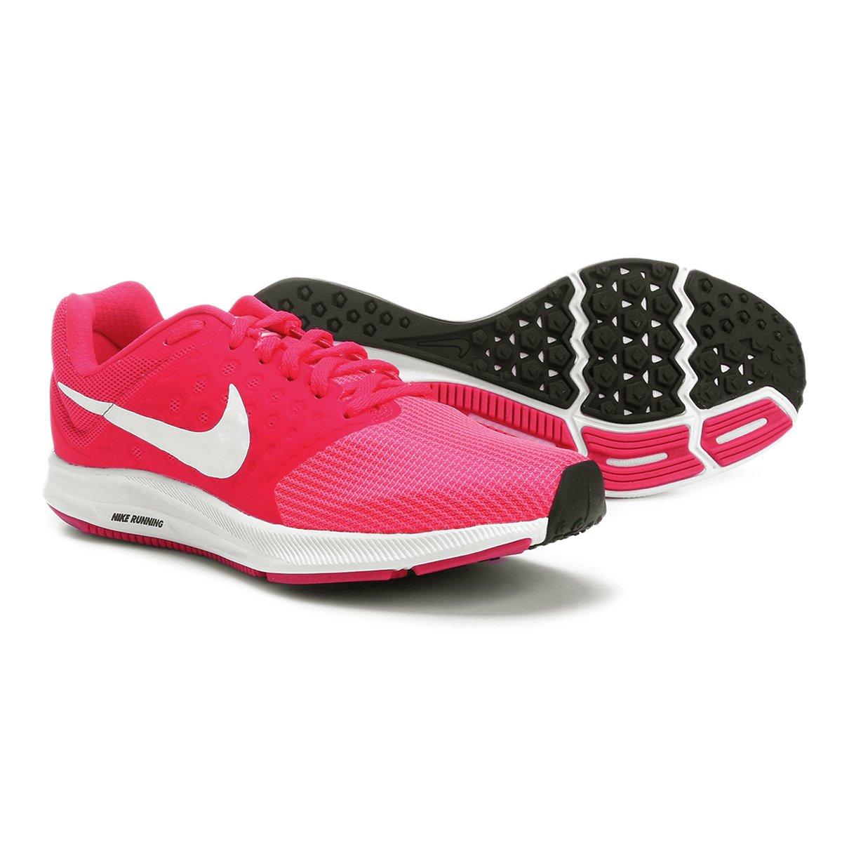 4f1ba09ccbb Tênis Nike Downshifter 7 Feminino - Rosa Escuro e Branco - Compre Agora