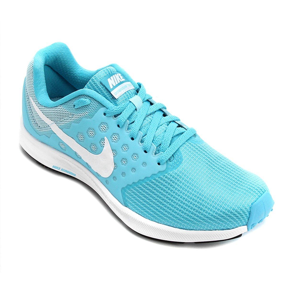 1e2a1e96b3773 Tênis Nike Downshifter 7 Feminino - Azul e Branco - Compre Agora ...