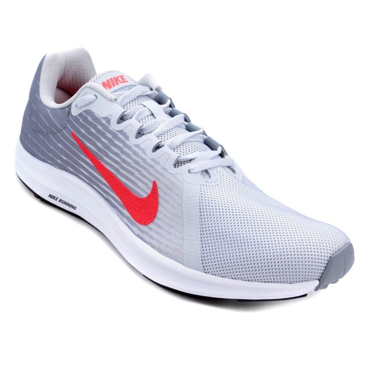 3ac599e80a0 Tênis Nike Downshifter 8 Masculino - Prata e Vermelho - Compre Agora ...