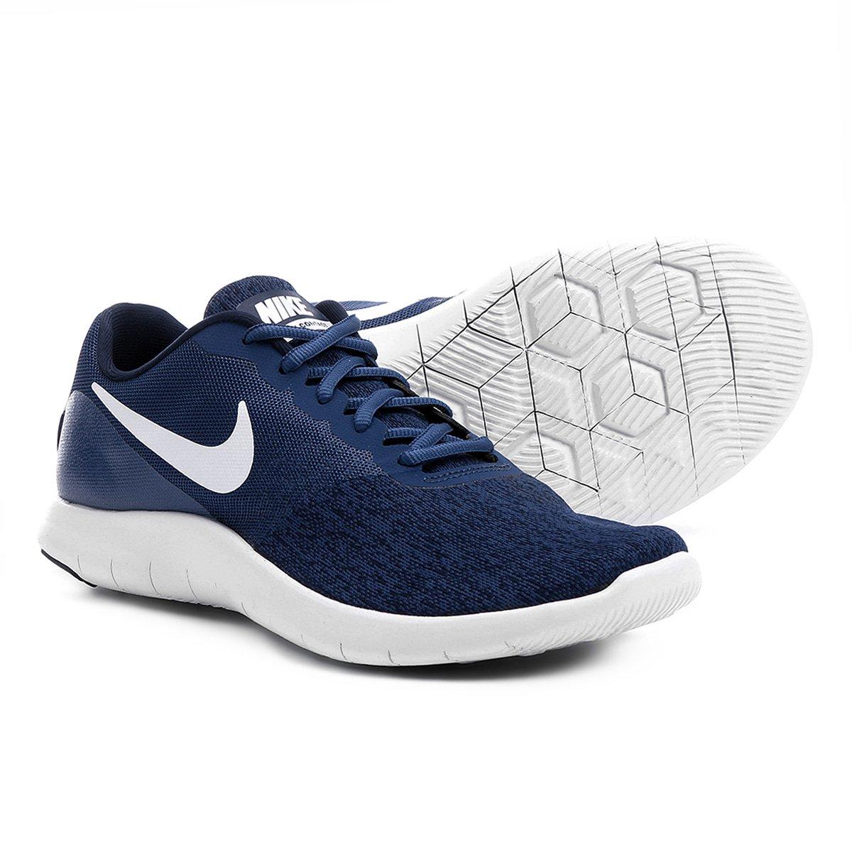 1687dc80c Tênis Nike Flex Contact Masculino - Marinho e Branco - Compre Agora ...