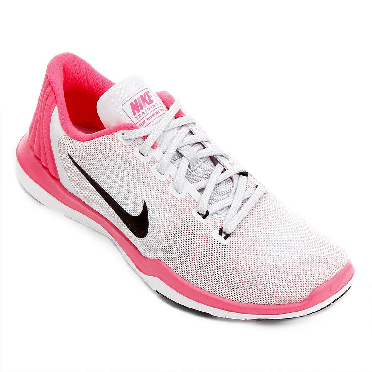 Tênis Nike Flex Supreme TR 5 Feminino - Branco e Rosa - Compre Agora ... a42aa6985ee75