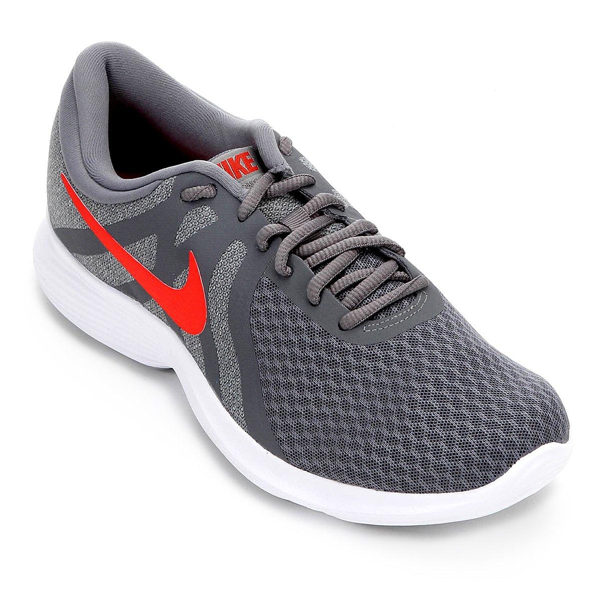 7d88b9580e9 Tênis Nike Revolution 4 Masculino - Cinza e Vermelho - Compre Agora ...