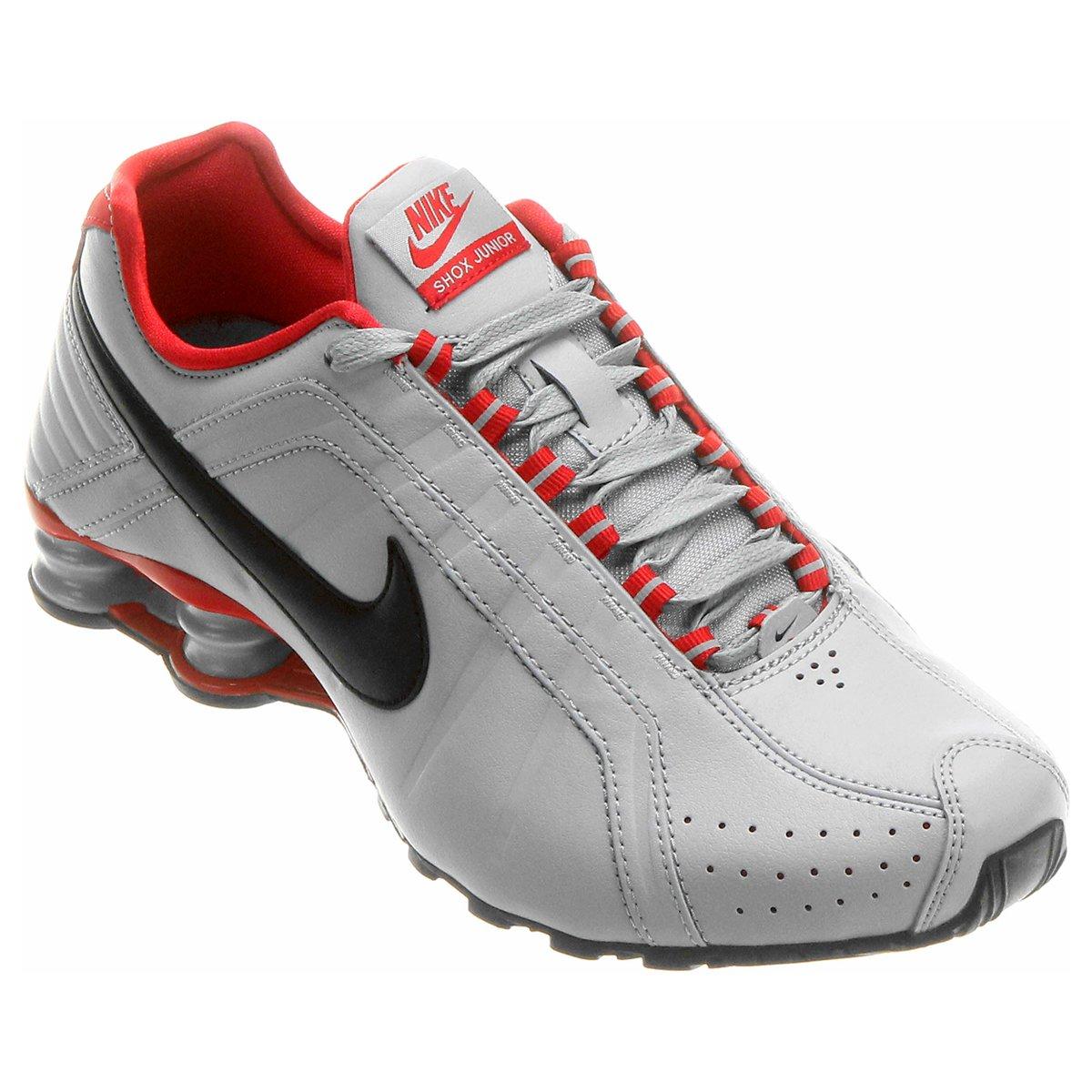 tênis nike shox junior cinza e vermelho