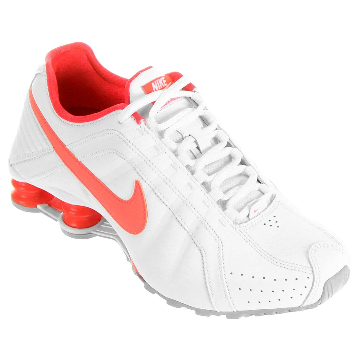 ... Tênis Nike Shox Junior - Branco e Salmão ... 3b980e49b