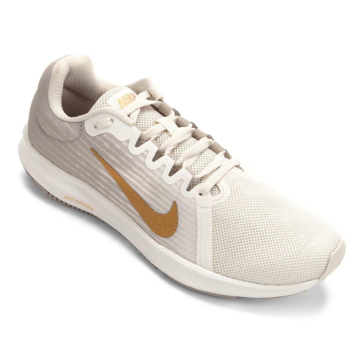 44d4e7bd Tênis Nike Wmns Downshifter 8 Feminino - Cinza e Dourado   Loja do Inter
