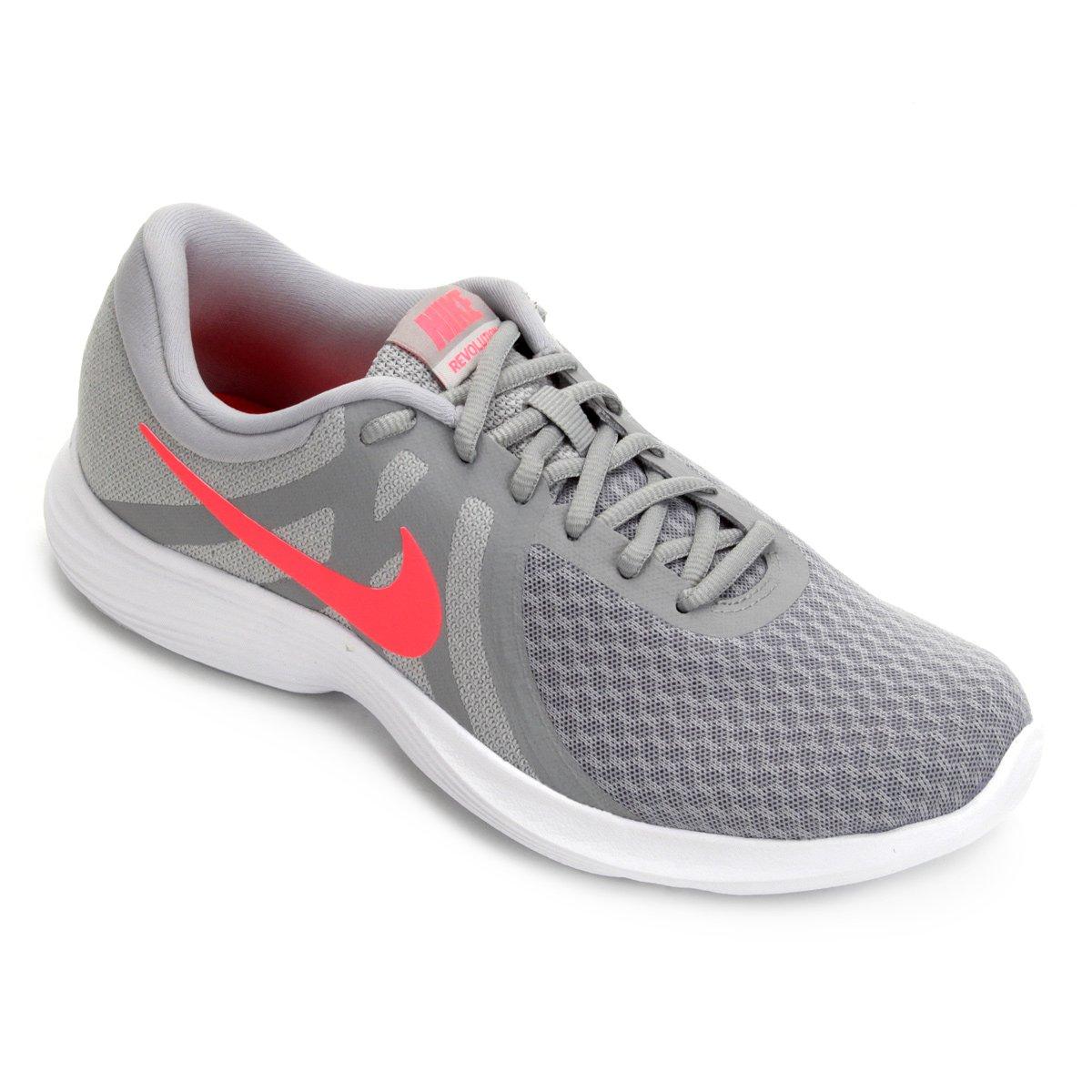 3fbdbc1ed15 Tênis Nike Wmns Revolution 4 Feminino - Cinza e Vermelho - Compre Agora