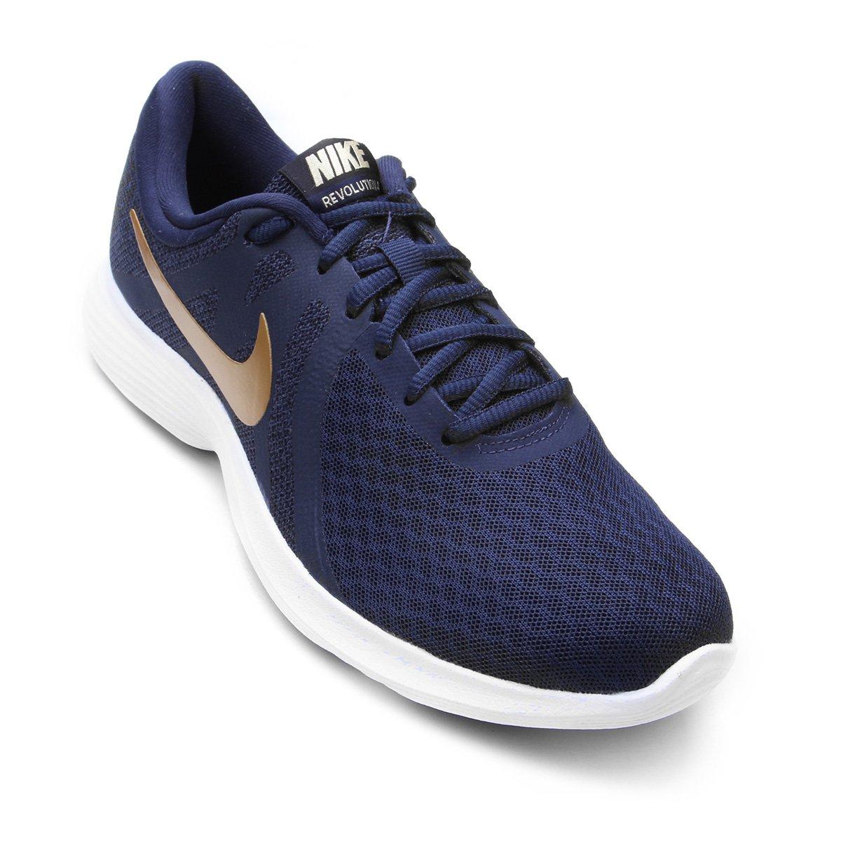 57e994c5a Tênis Nike Wmns Revolution 4 Feminino - Marinho e Dourado - Compre Agora