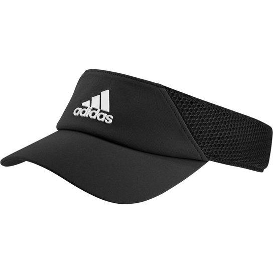 Viseira Adidas Aba Curva Strapback Aeroready - Preto+Branco